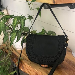 Large Big Buddha Black Vegan Leather Braided Bag